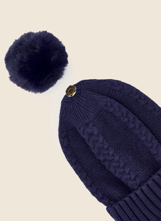 Bonnet à pompon en fausse fourrure , Bleu