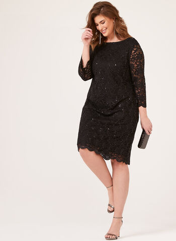 ¾ Sleeve Sequined Lace Dress, Black, hi-res