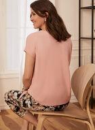 T-shirt manches courtes et détail noeud, Rose