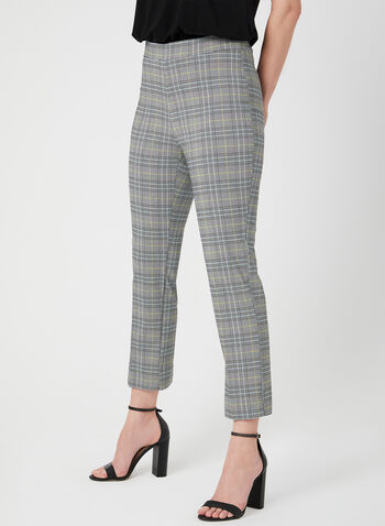 Plaid Print Pull-On Capri Pants, Blue, hi-res