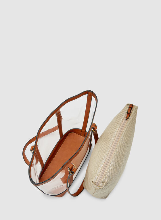 Clear Tote Bag, Brown