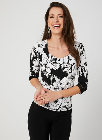 Floral Print Jersey Top, Black, hi-res,  ¾ sleeves, lace, textured, spring 2019