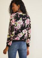 Floral Print Crossover Top, Black