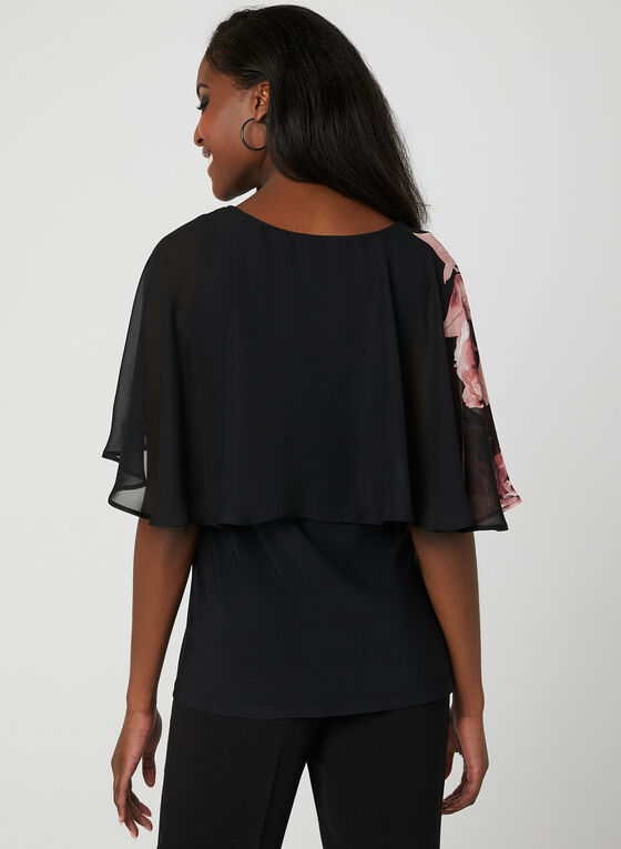Elbow Sleeve Poncho Top, Black, hi-res