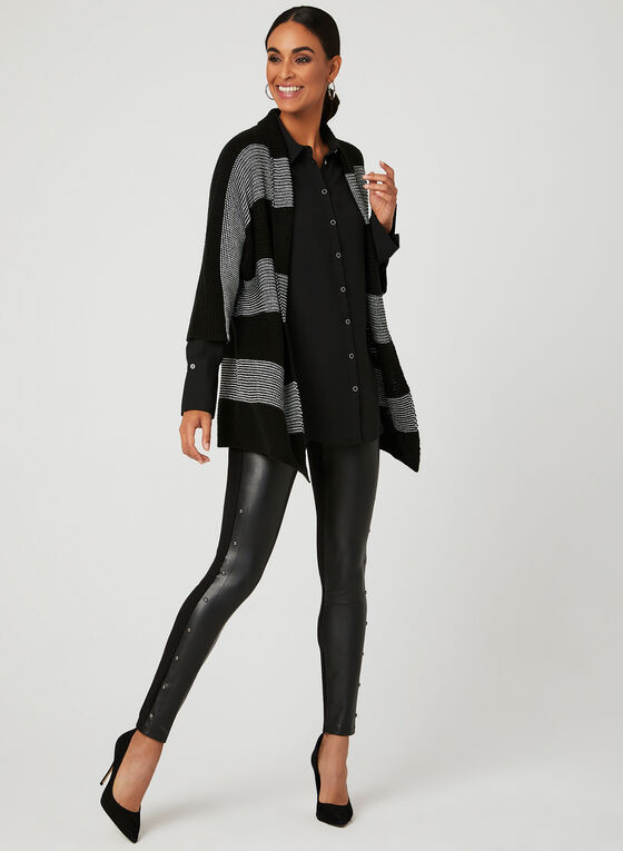 Dolman Sleeve Knit Cardigan, Black, hi-res