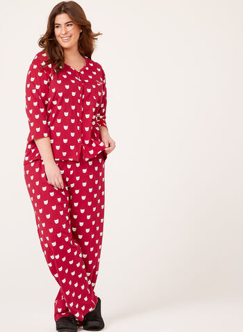 Cat Print Pajama Set , Pink, hi-res