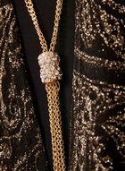 Metallic Paisley Dress Necklace Set, Black, hi-res