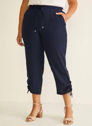 Capri pull-on cargo à liens , Bleu,  capri, pull-on, cargo, liens, jersey, poches, printemps été 2020