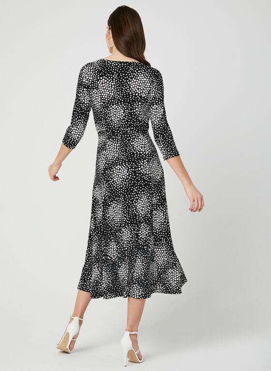 Geometric Print Jersey Dress, Black