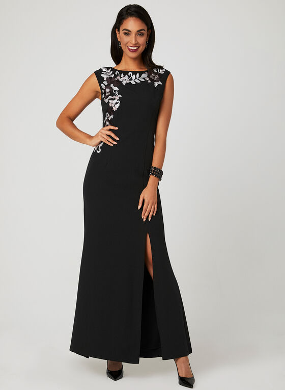 Floral Embroidery Sleeveless Dress, Black, hi-res
