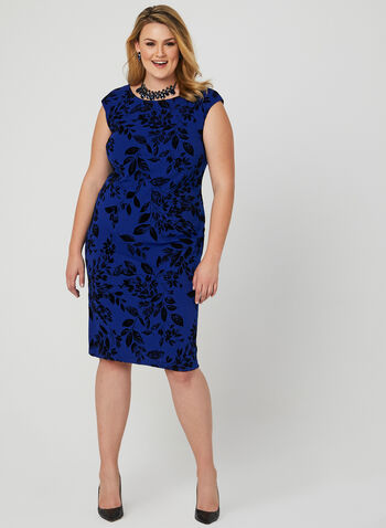 Velour Floral Print Scuba Dress, Blue, hi-res
