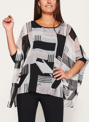 Graphic Print 3/4 Sleeve Poncho Blouse, Black, hi-res