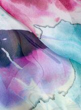 Tulip Print Chiffon Scarf, Blue, hi-res