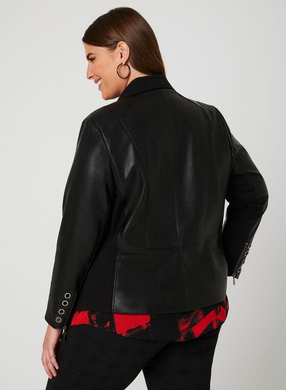 Blazer en similicuir et tissu à détails œillets, Noir, hi-res