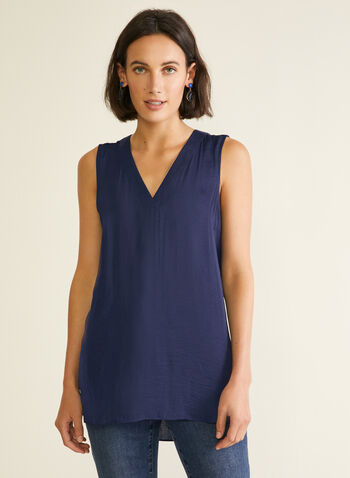 Sleeveless V-Neck Blouse, Blue,  blouse, sleeveless, v-neck, high low, spring summer 2020
