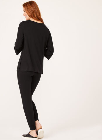 ¾ Sleeve Boat Neck Top, Black, hi-res