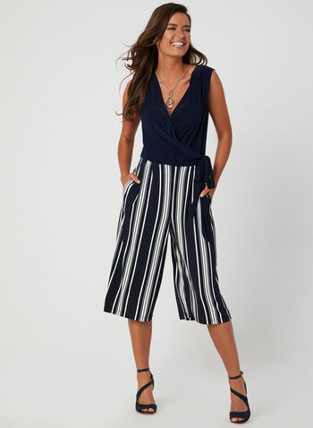 Stripe Print Jumpsuit, Blue, hi-res,  jersey, sleeveless, tie detail, faux wrap, fall 2019