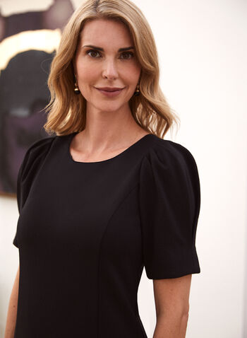 Short Dress With Elbow Sleeves, Black,  little black dress, elbow sleeves, jersey, fall winter 2020