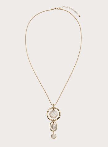 Collier avec pendentif à anneaux étagés et pierres, Blanc cassé, hi-res