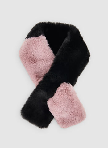 Faux Fur Scarf, Pink,  scarf, faux fur, two tone, fall 2019, winter 2019