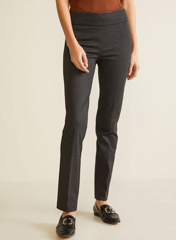 Pantalon à jambe étroite à motif petits carrés, Noir