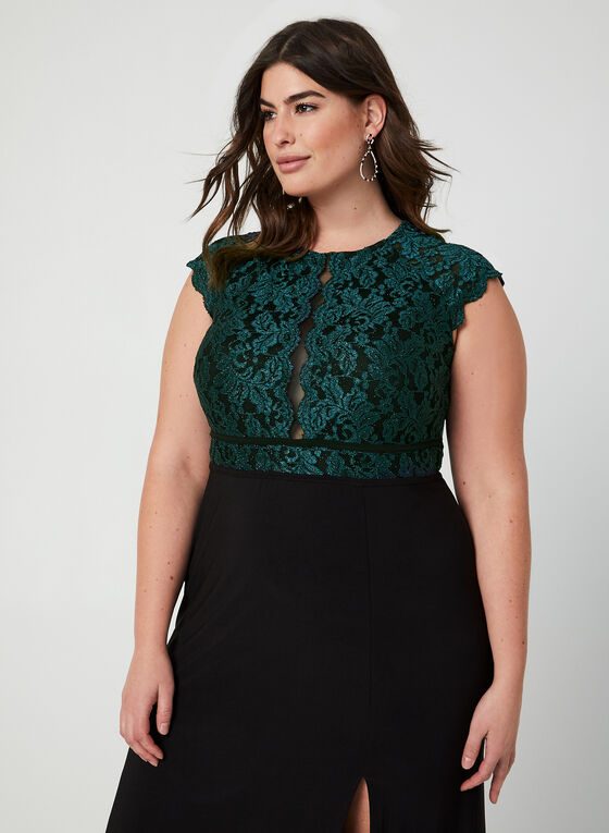 Lace Bodice Jersey Dress, Black, hi-res