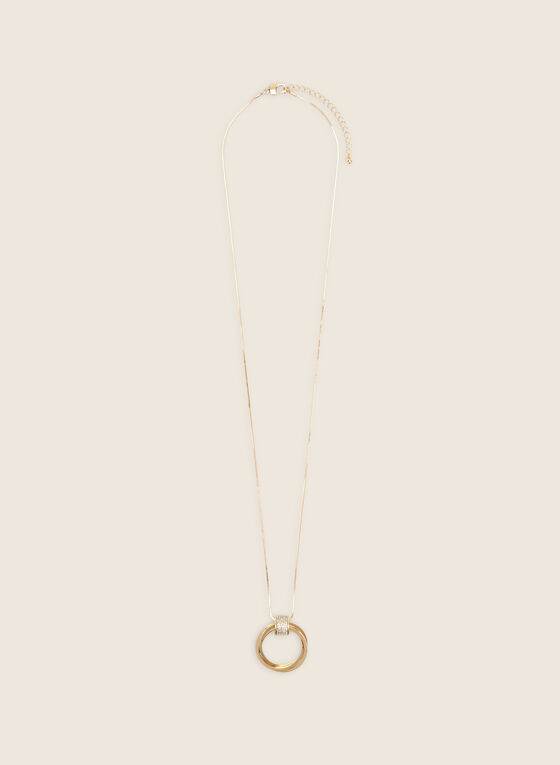 Long Metallic Ring Pendant Necklace, Gold