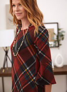Bell Sleeve Plaid Dress, Red