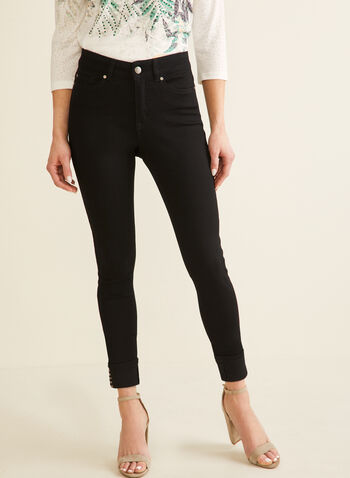 High-Waisted Slim Leg Jeans , Black,  jeans, slim leg, high waisted, turned-up hem, stud details, 5 pockets, spring 2020