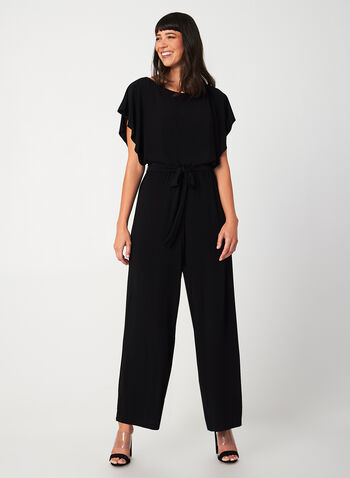 Emma & Michele - Wide Leg Jumpsuit, Black, hi-res,  jumpsuit, wide leg, long, batwing sleeves, short sleeve jumpsuit, fall 2019, winter 2019