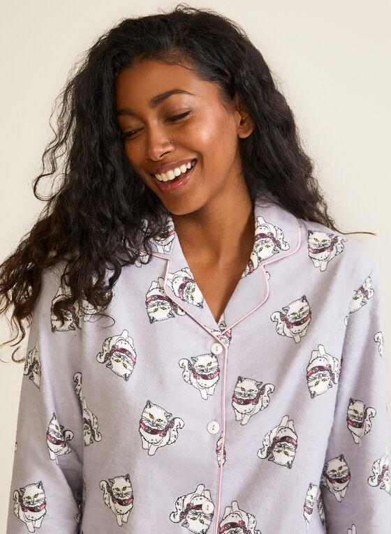 Cat Print Flannel Pyjama Set, Grey