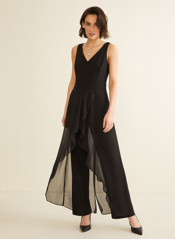 Sleeveless Jersey & Chiffon Jumpsuit, Black,  jumpsuit, jersey, chiffon, wide leg, v-neck, sleeveless, stretchy, spring summer 2020