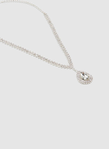 Crystal Teardrop Necklace, Silver, hi-res