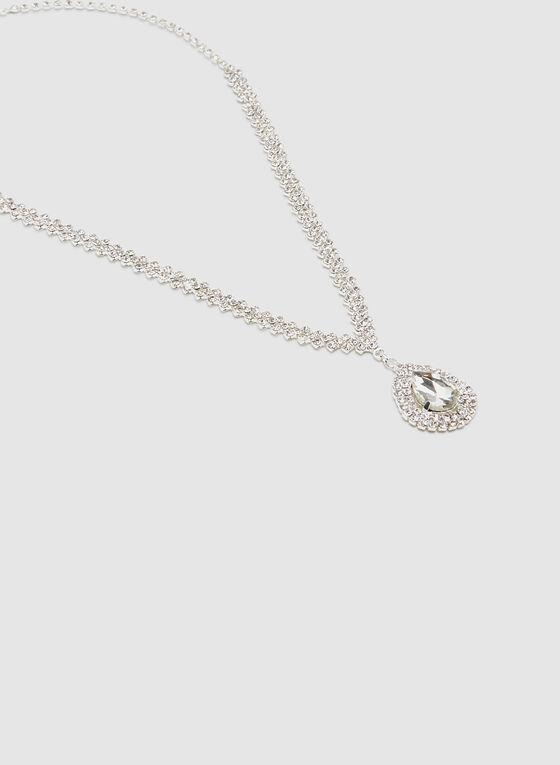 Crystal Teardrop Necklace, Silver, hi-res