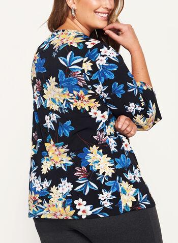 Floral Print 3/4 Bell Sleeve Top, , hi-res