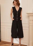 Dot Print Button Front Jumpsuit, Black