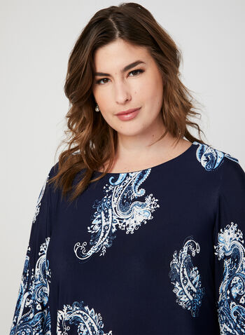 Paisley Print Angel Sleeve Dress, Blue, hi-res