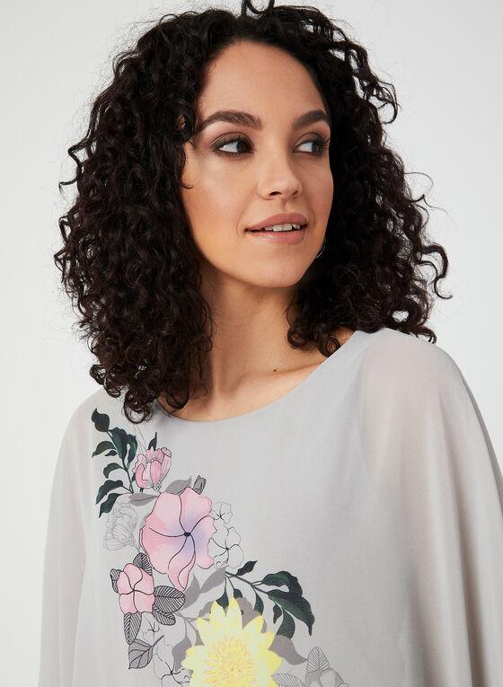 Blouse poncho à imprimé floral, Gris