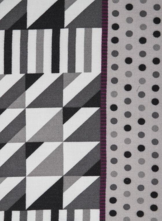 Geometric Print Scarf, Grey