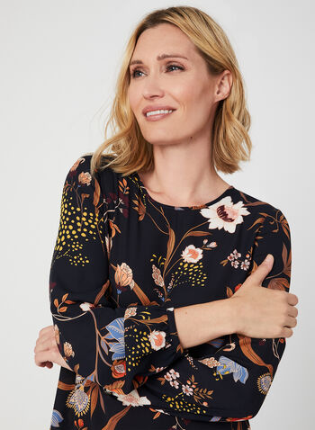 Floral Print Crepe Blouse, Blue, hi-res,  blouse, crepe, long sleeves, floral print, fall 2019, winter 2019