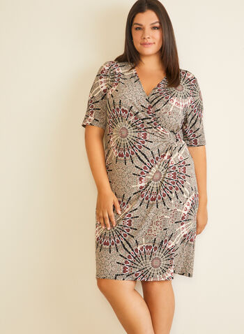 Medallion Print V-Neck Dress, Brown,  day dress, v-neck, medallion, crossover, jersey, fall winter 2020