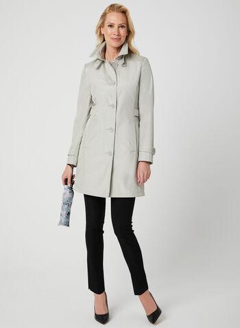 Imperméable satiné avec parapluie , Blanc cassé, hi-res,  imperméable, manteau, manches longues, satiné, parapluie, printemps 201