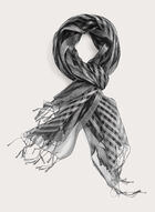 Striped Solid Colour Wrap, Silver, hi-res
