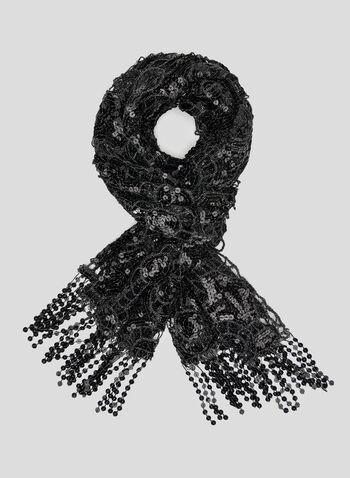 Sequin Crochet Scarf, Black, hi-res