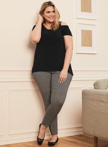 City Fit Contrast Pattern Pants, Black,  pants, city fit, slim leg, mid rise, pull-on, elastic waist, contrast, bengaline, spring summer 2020