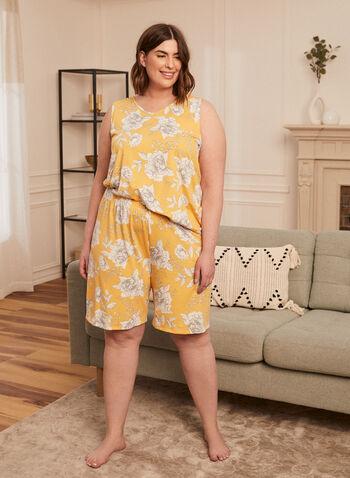 Floral Print Pyjama Set, Gold,  spring summer 2021, sleepwear, pyjamas, pajamas, flowers, flowery, set, rounded hem, pull on