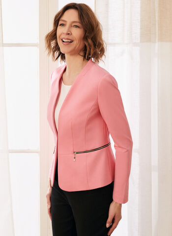 Veste ajustée à zips décoratifs, Rose,  printemps été 2021, veste, blazer, zip, manches longues, ajusté, point de Rome