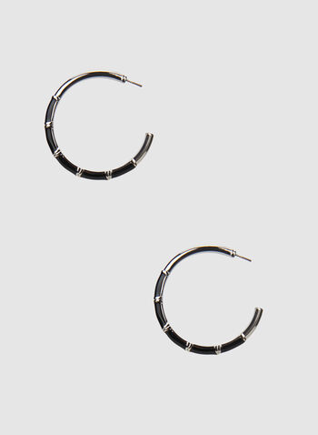 Hoop Earrings, Black,  earrings, hoop, metallic, textured, fall 2019, winter 2019