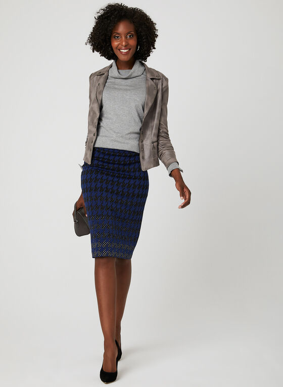 Houndstooth Jacquard Knit Skirt, Blue, hi-res