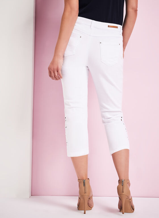 Simon Chang - Crochet Denim Capris, White, hi-res